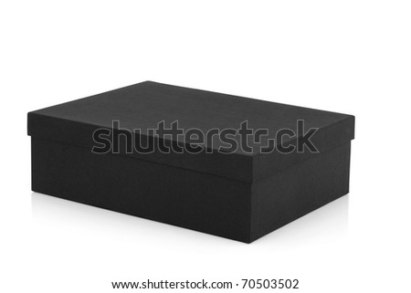 Black box rectangle shaped with lid on, over white background. - stock photo