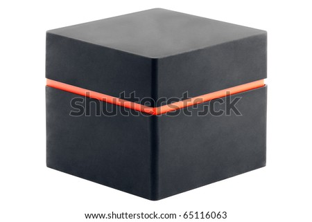 black box with an orange stripe isolated on a white background - stock photo