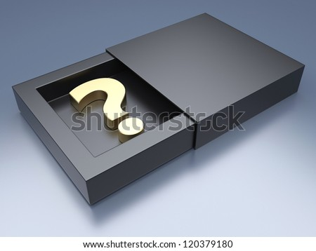 Black box with question mark - stock photo