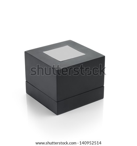 Black box with square stick. Clipping path - stock photo