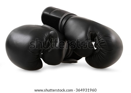 Black boxing gloves isolated on white - stock photo