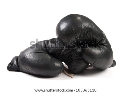 black boxing gloves isolated on white background - stock photo