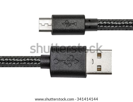 Black braided wire usb to miniusb cable isolated on white - stock photo