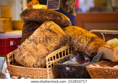Black bread in French Market in Alps