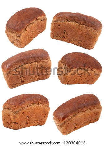 Black bread set on white background - stock photo