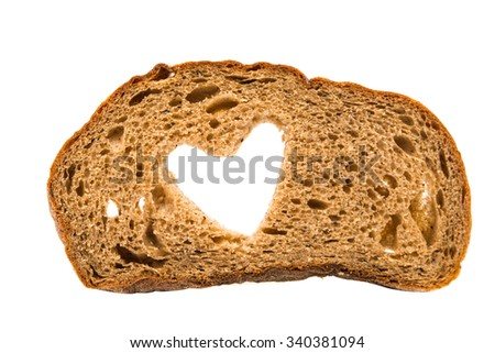 black bread with a heart on a white background