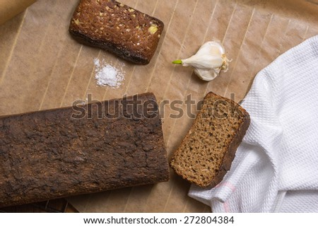black bread with garlic and sea salt - stock photo