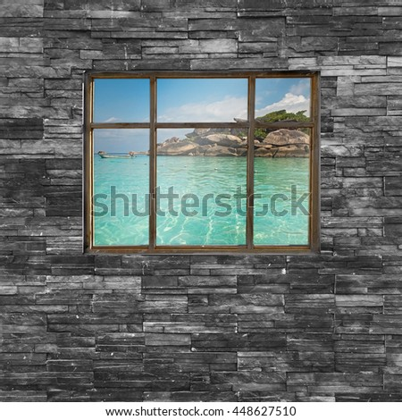 black brick wall texture. stonewall pattern design for decorated and interior with nature view in vintage window - stock photo