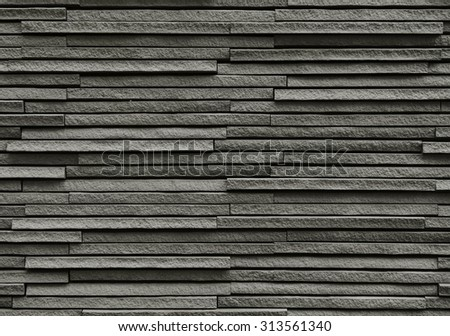Black bricks stone rocks background - stock photo