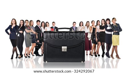 Black briefcase foreground and crowd of business peole isolated on the white