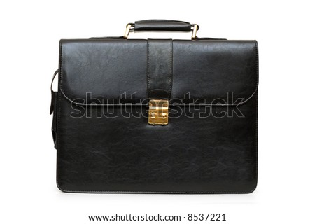 Black briefcase isolated on the white background