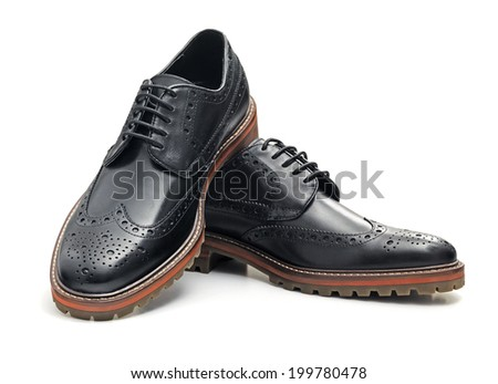 Black Brogues isolated on a white background