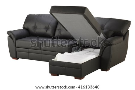 Black brown leather corner couch bed with storage isolated on white include clipping path - stock photo