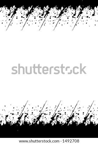 Black Brushes border background - stock photo