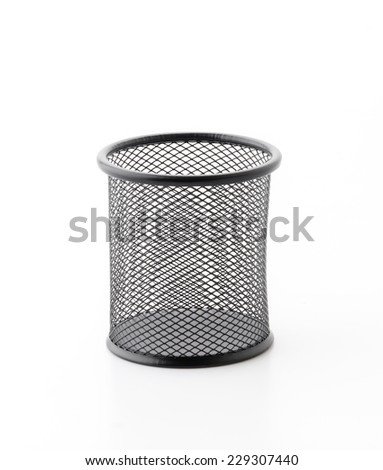 black bucket in office for putting something - stock photo