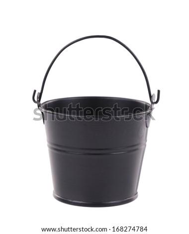 Black bucket on the white background. Isolated on a white background. - stock photo