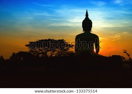 Black buddha silhouette - stock photo
