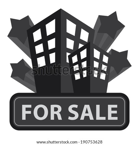 Black Building, Apartment or Office For Sale Icon or Label Isolated on White Background - stock photo