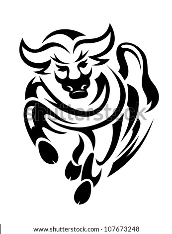 Black bull in tribal style for mascot or tattoo design, such a logo. Vector version also available in gallery - stock photo
