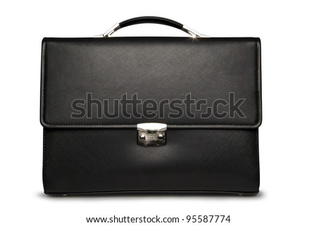 Black business briefcase (front view) with shadow on white background and clipping path - stock photo