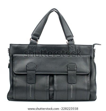 Black business briefcase  isolated on white background.  - stock photo