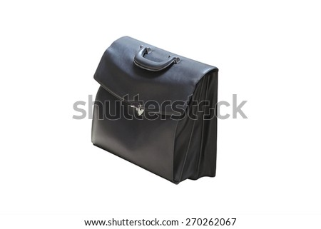 Black business briefcase on white background and clipping path