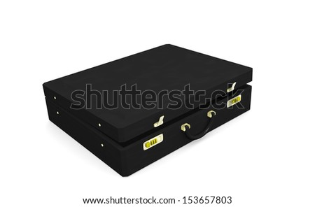 Black business briefcase with lock of gold