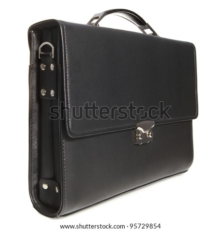 Black business briefcase with shadow on white background - stock photo