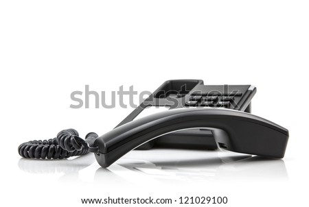 Black business phone on white background