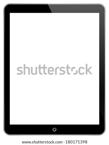 Black Business Tablet In iPad Air Style Isolated On White - stock photo