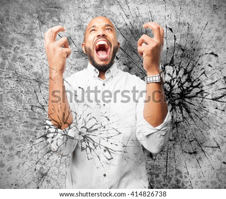 black businessman angry expression - stock photo