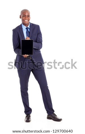 black businessman holding tablet computer isolated on white - stock photo