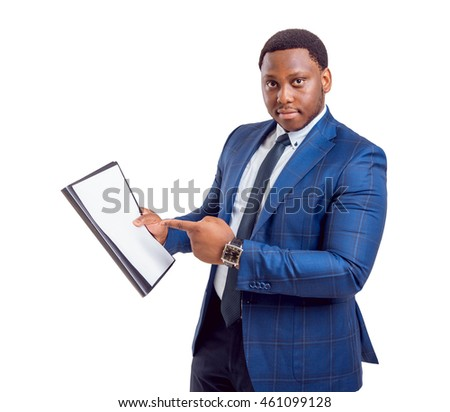 Black businessman on white background. With clipping path.