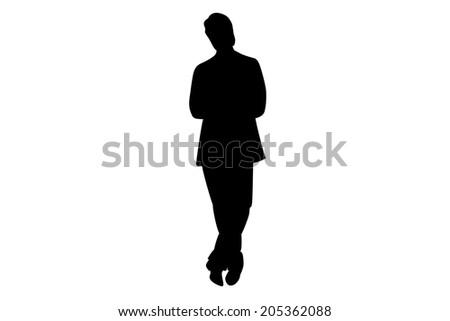 Black Businessman silhouette illustration. - stock photo