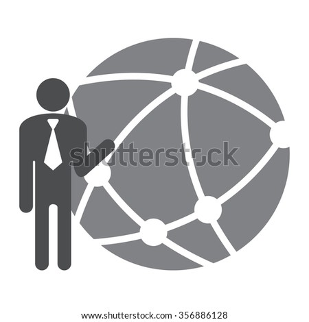 Black Businessman With Worldwide, Business Connection, Social Network, Global Communication Infographics Flat Icon, Sign Isolated on White Background  - stock photo