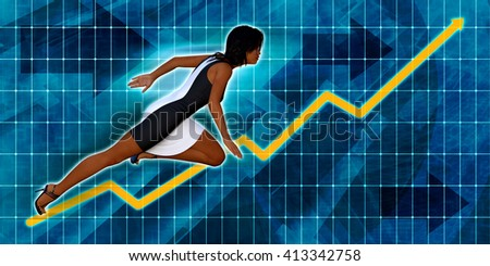Black Businesswoman Running with Chart Graph Background Art 3D Illustration Render - stock photo