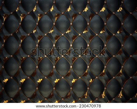 Black Buttoned luxury leather pattern with gemstones and gold. High resolution - stock photo