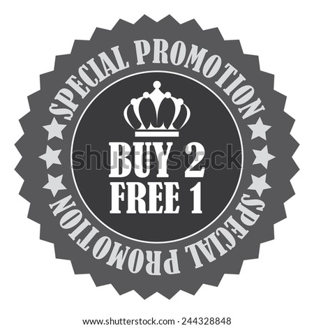 black buy 2 free 1 special promotion promotional sale icon, tag, label, badge, sign, sticker isolated on white  - stock photo