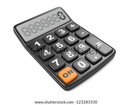 Black calculator 3D. Isolated on White Background. - stock photo