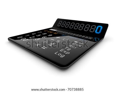 Black calculator 3D. On white background - stock photo