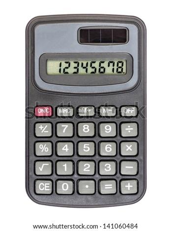 Black calculator isolated on white - stock photo