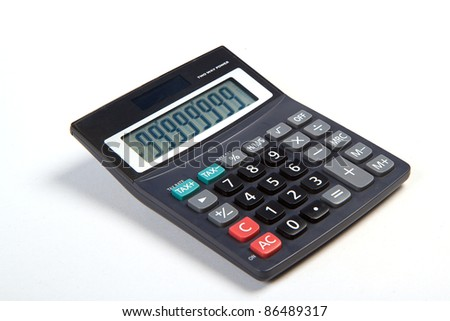 Black calculator isolated on white background