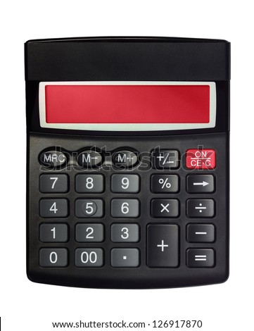 Black calculator with red screen isolated on the white background - stock photo