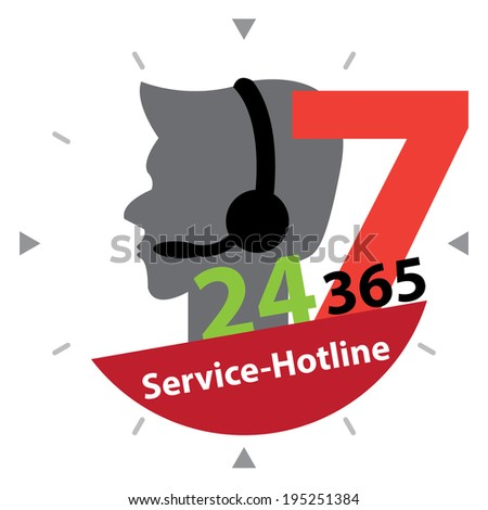 Black Call Center Sign With Colorful 24 Hours A Day, 7 Days A Week, 365 Days A Year Service-Hotline Label, Sign or Icon Isolated on White Background - stock photo