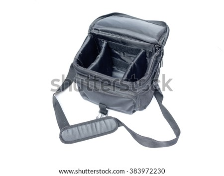 black camera bag on open  white background , select focus Top view - stock photo