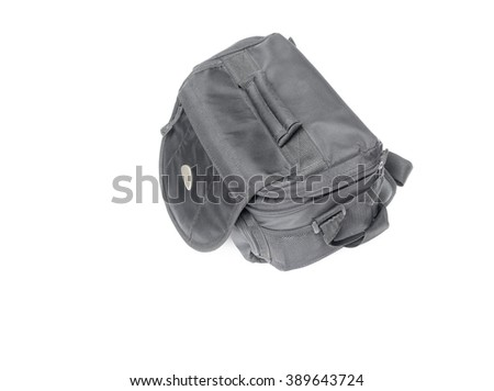black camera bag on  white background  Top view - stock photo