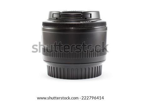 Black camera lens isolated on white background - stock photo
