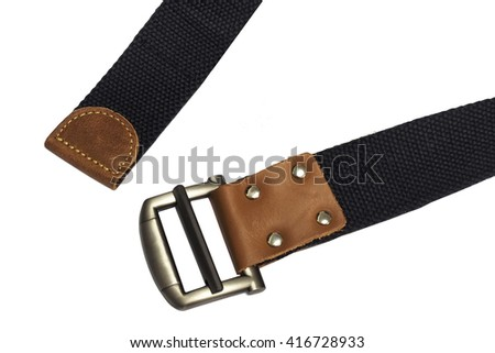 black canvas belt on white background