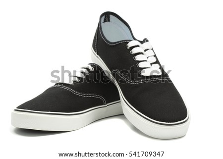 Black canvas sneakers, isolated with clipping path