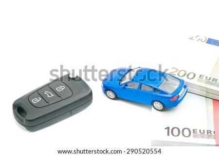 black car keys, blue car and euro notes on white - stock photo